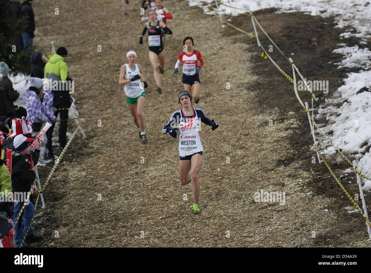 Bydgoszcz, Poland 24th, March 2013 IAAF World Cross Country Chamiponships. Junior Race Woman. Pictured: Rebecca - Stock Image
