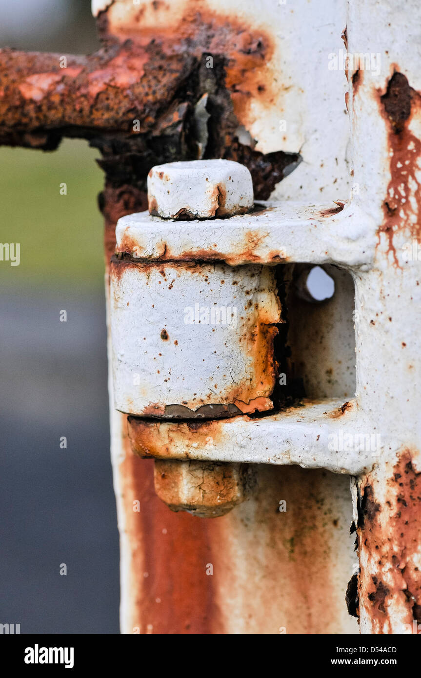 A rusty hinge on an iron security gate - Stock Image