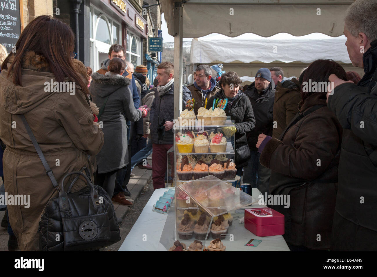 Ramsbottom, Lancashire, UK Sunday 24th March, 2013. Chocolate Stall at the 5th Annual Chocolate Festival, held in - Stock Image