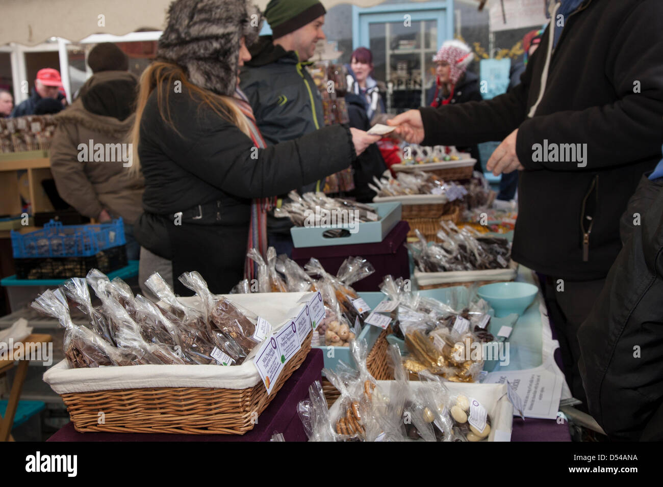 Ramsbottom, Lancashire, UK Sunday 24th March, 2013. Goods for sale at the 5th Annual Chocolate Festival, held in - Stock Image