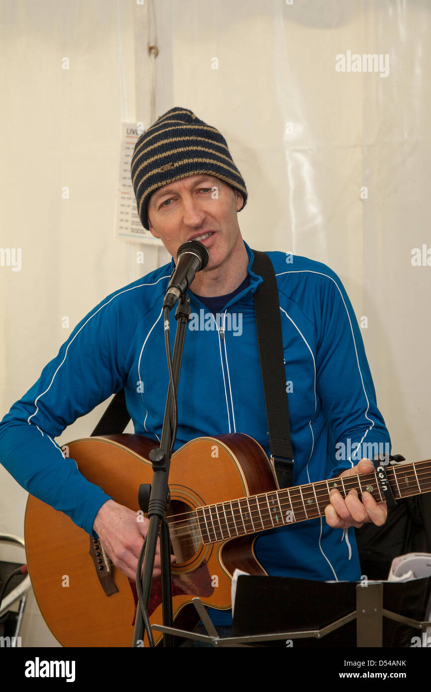 Ramsbottom, Lancashire, UK Sunday 24th March, 2013. Colin Barkley a song writer at the 5th Annual Chocolate Festival, Stock Photo