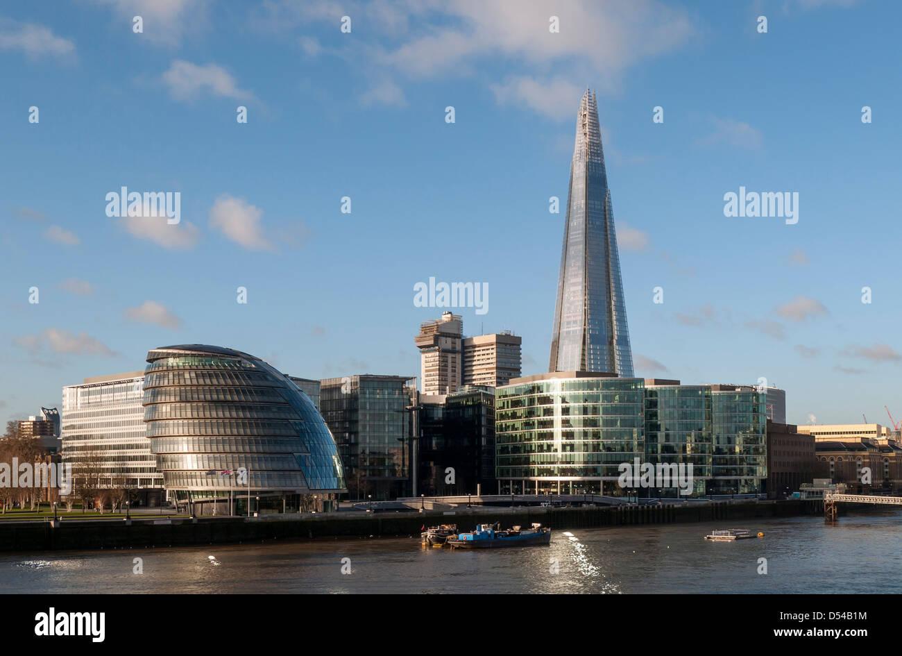 London City Hall (GLA Building) and The Shard Skyscraper, England, UK - Stock Image