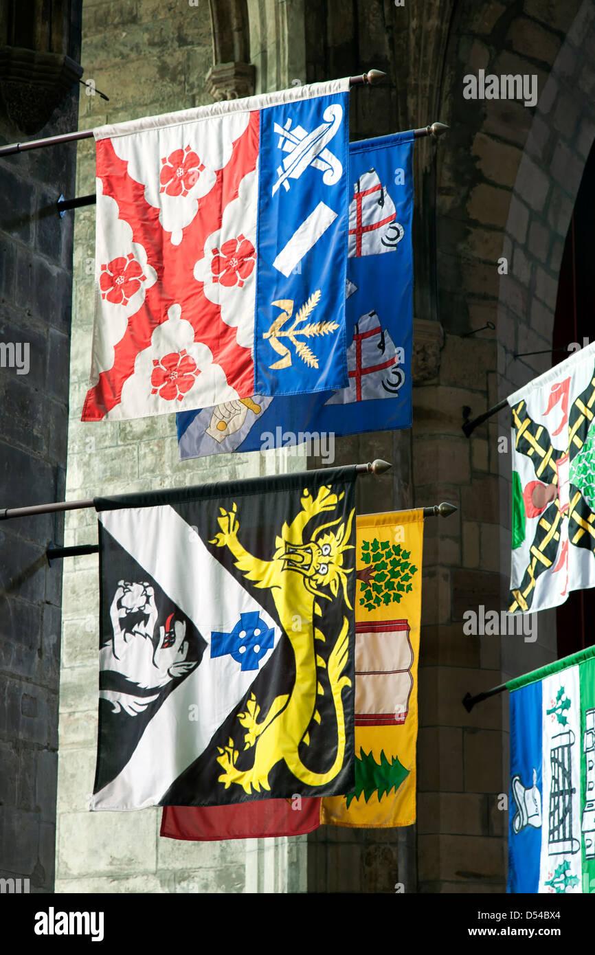 Heraldic banners, St. Giles' Cathedral, Edinburgh, Scotland, United Kingdom - Stock Image