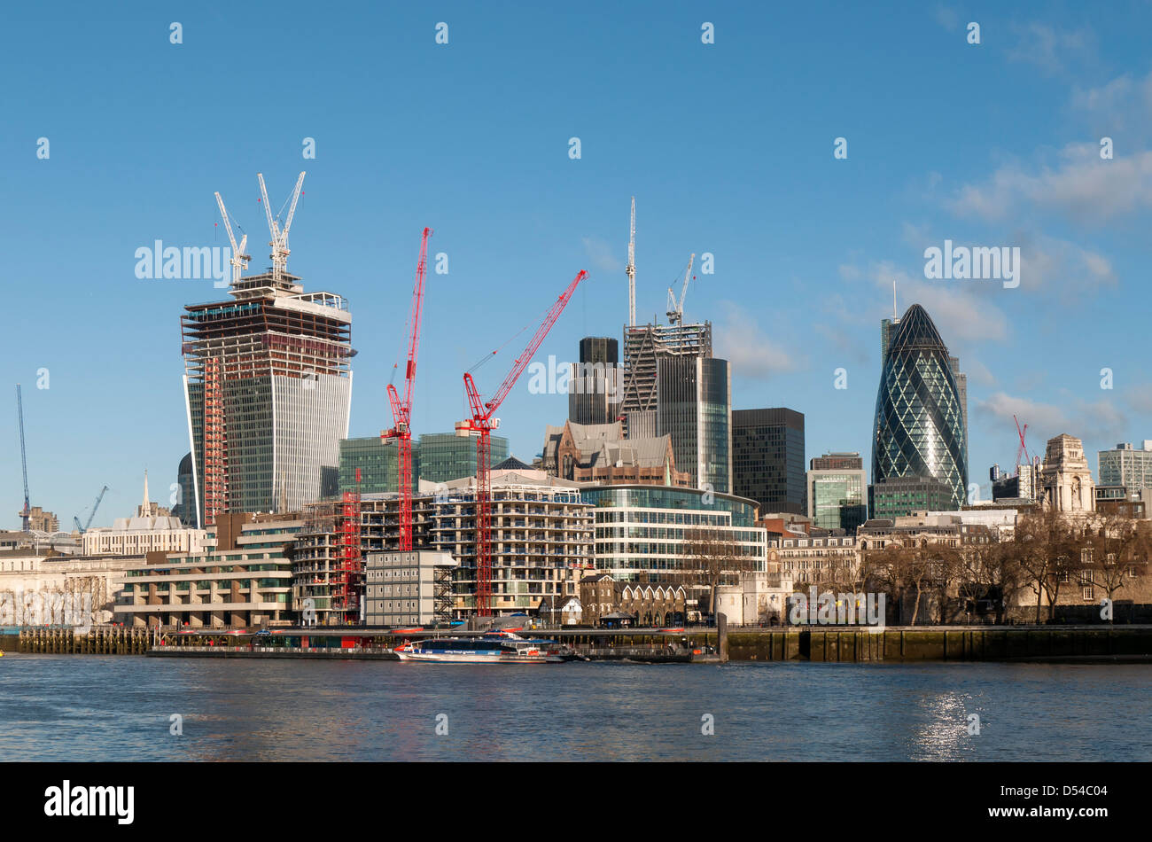 Construction of Skyscrapers, City of London (February 2013) - 20 Fenchurch St (Walkie-Talkie), 122 Leadenhall St - Stock Image