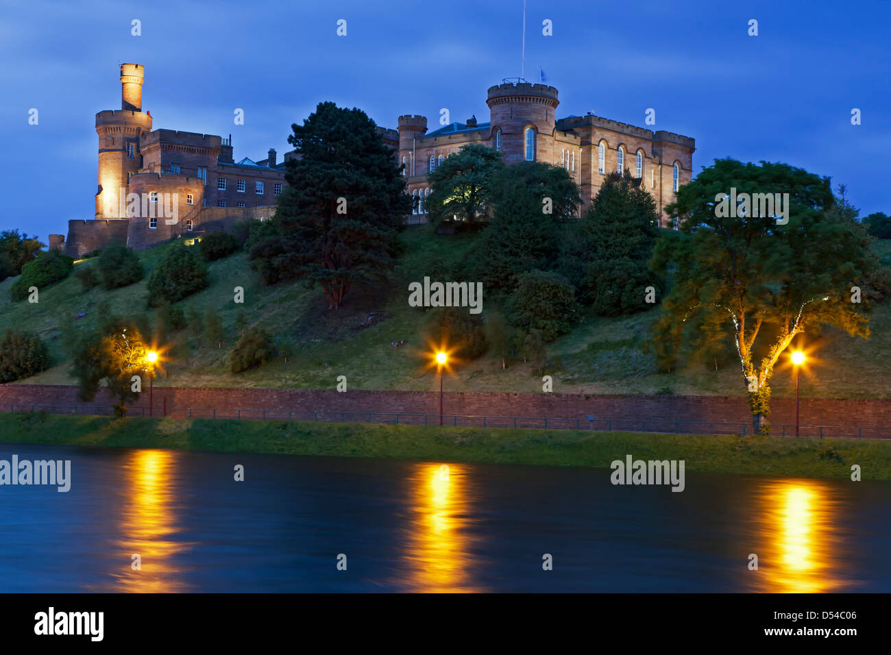 Inverness Castle (courthouse) and River Ness, Inverness, Scotland, United Kingdom - Stock Image