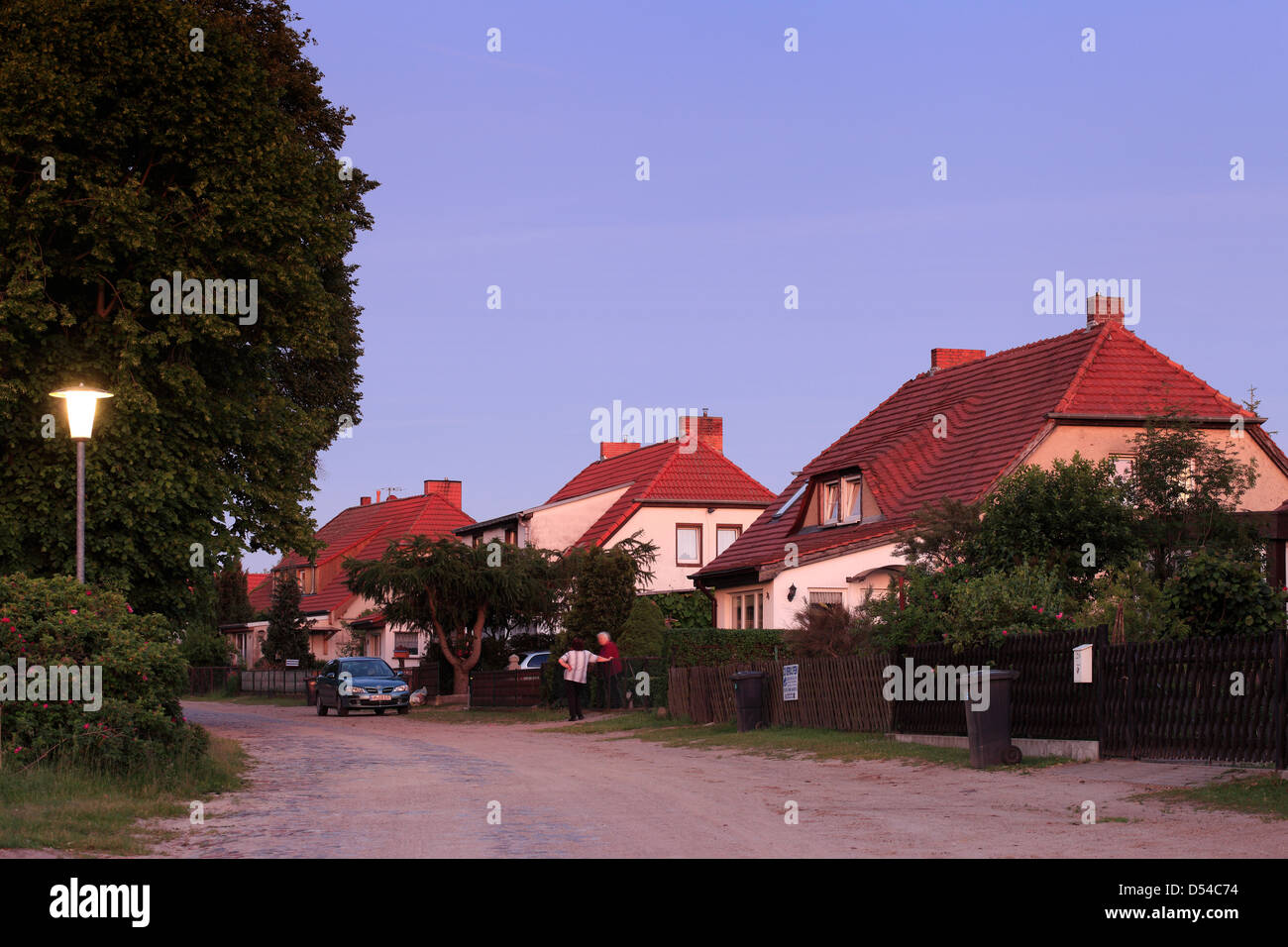 Metzelthin, Germany, apartment houses at dawn - Stock Image