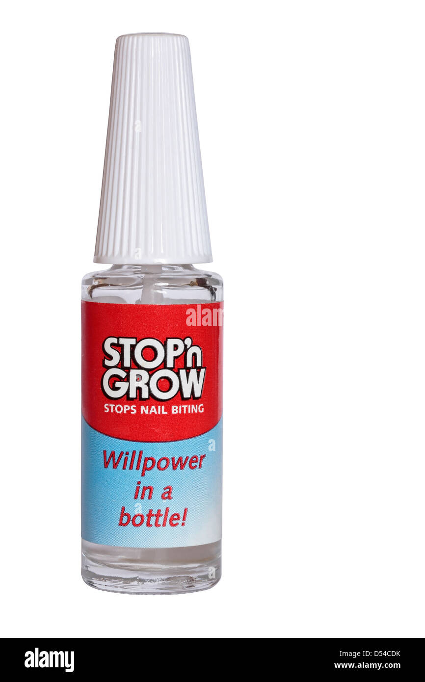 Bottle of Stop'n Grow liquid to stop nail biting isolated on white background - Stock Image
