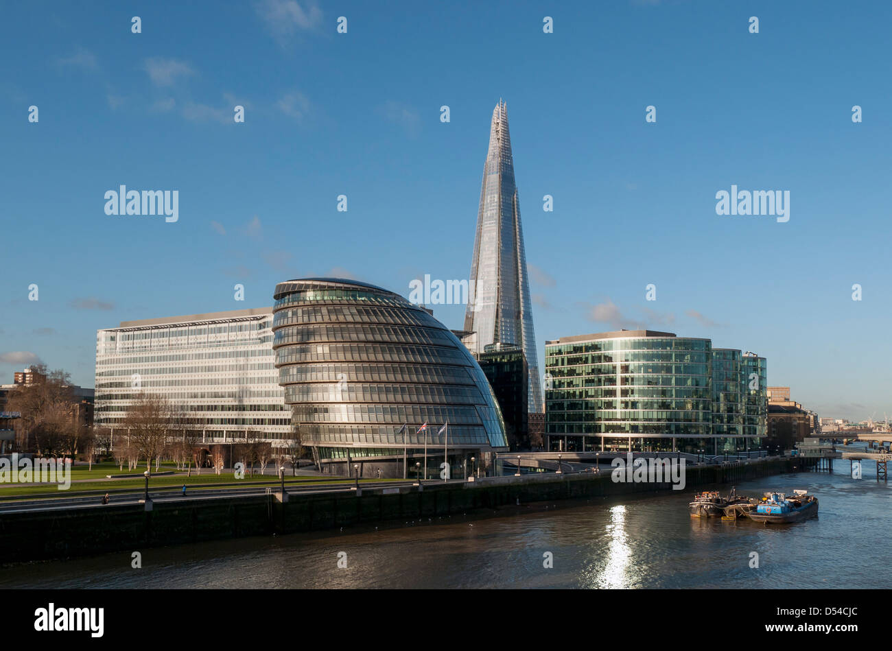 London City Hall (GLA Building) and The Shard Skyscraper as seen from Tower Bridge, England, UK - Stock Image