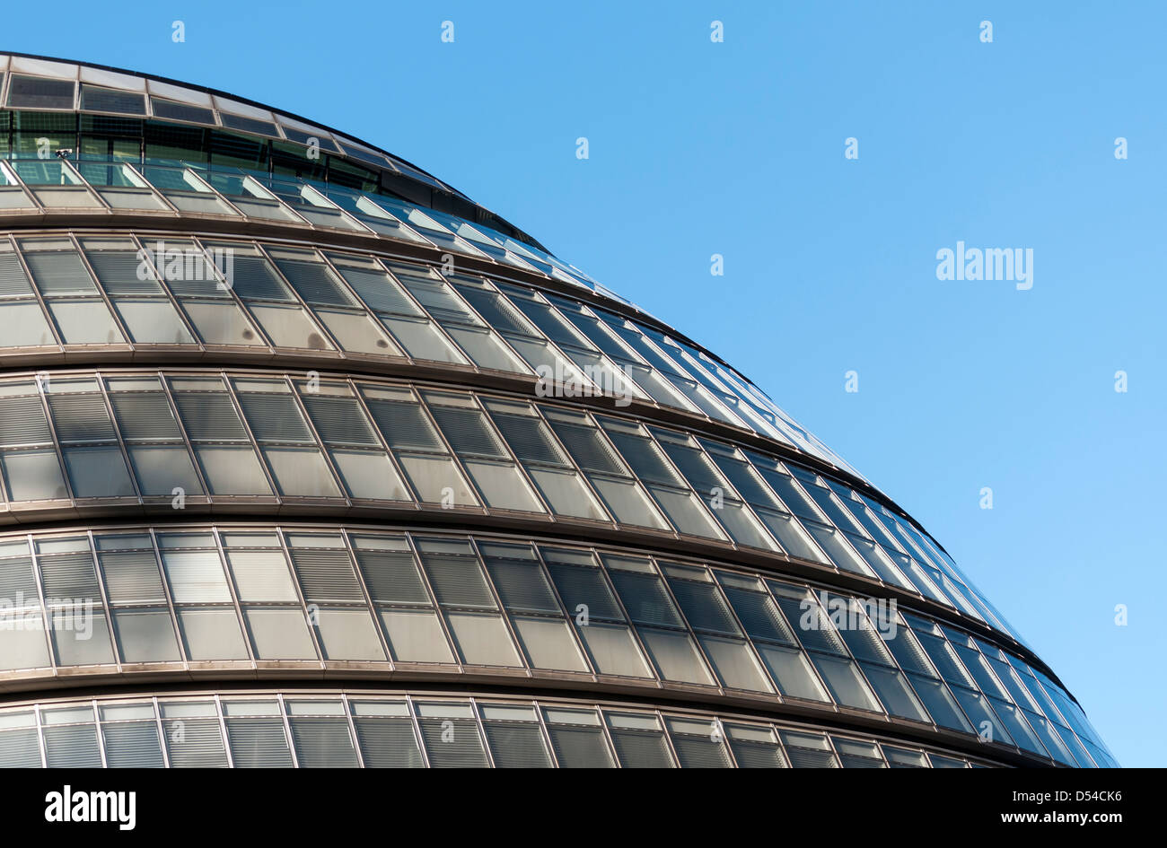 Close-up of Facade of London City Hall (Greater London Authority Building) designed by Norman Foster, England, UK - Stock Image