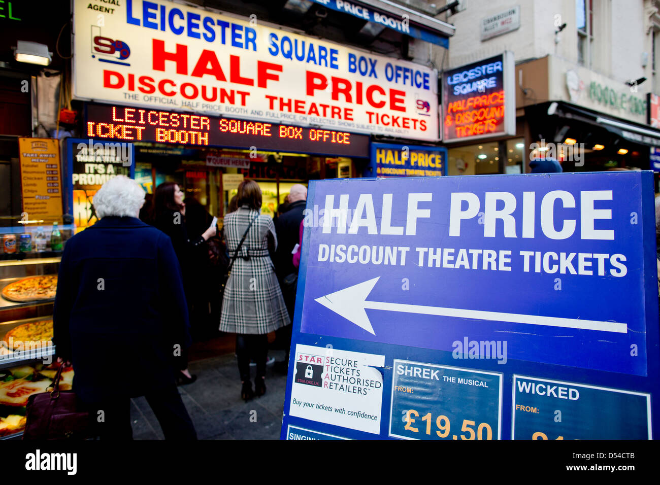 Theatre tickets on sale, Leicester square, London, United Kingdom - Stock Image