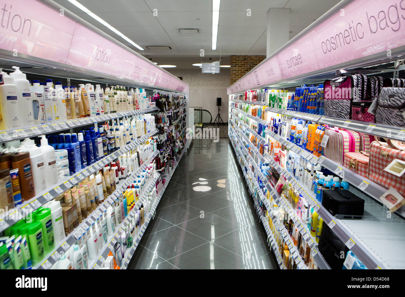 lotion on display at a Walgreens Flagship store in downtown Washington, DC. - Stock Image