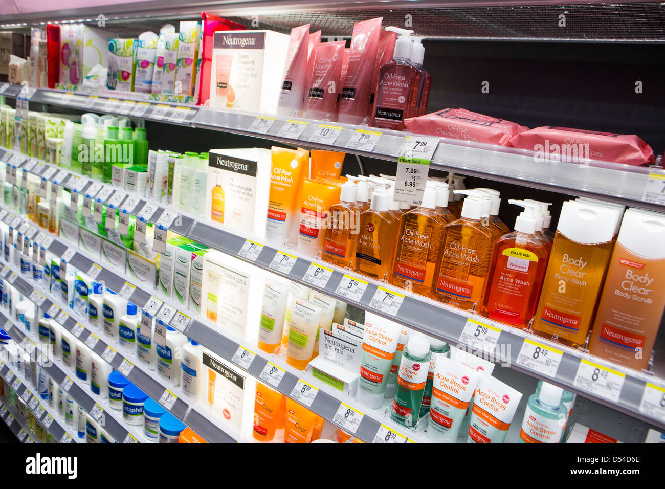 Neutrogena lotion on display at a Walgreens Flagship store in downtown Washington, DC. - Stock Image