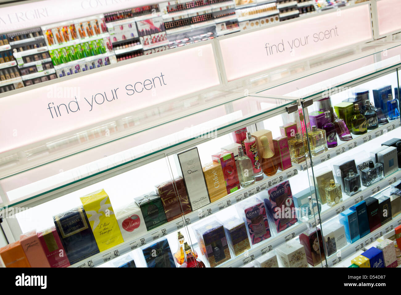 Cosmetics and perfume on display at a Walgreens Flagship store in downtown Washington, DC. Stock Photo