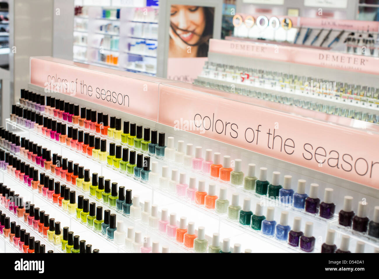 Nail polish on display at a Walgreens Well Experience Flagship store in downtown Washington, DC.  - Stock Image