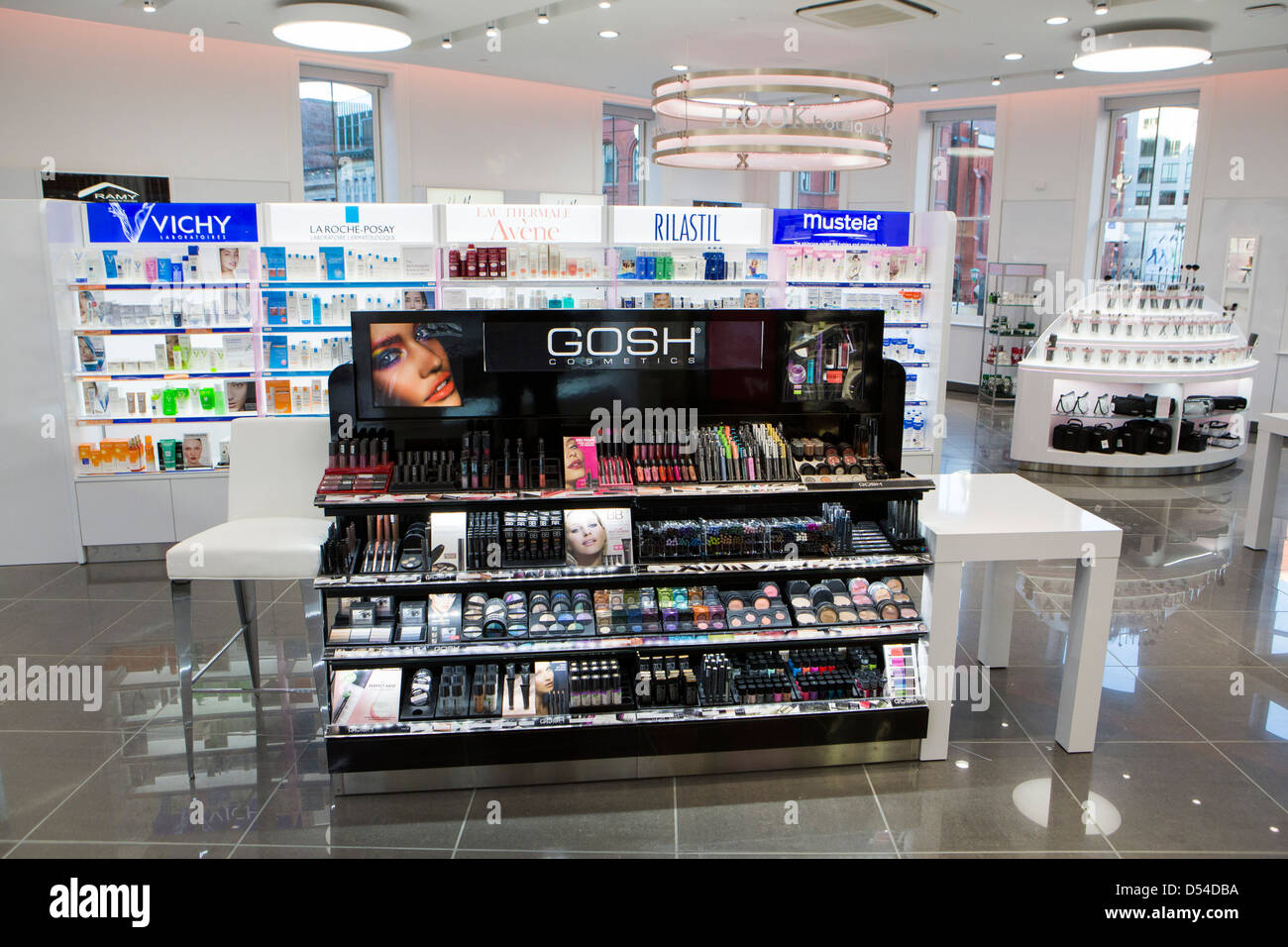 High-end cosmetics on display at a Walgreens Flagship store in downtown Washington, DC. - Stock Image