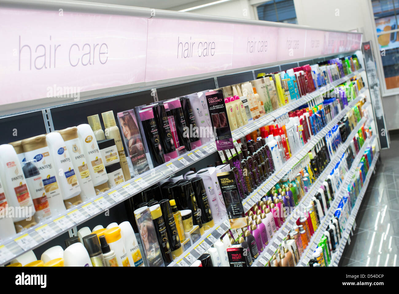 Hair care products on display at a Walgreens Flagship store in downtown Washington, DC. - Stock Image