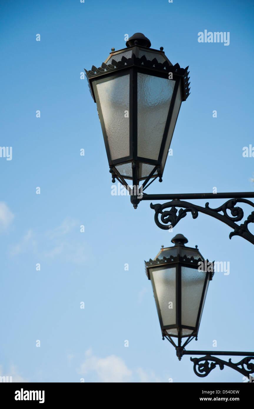 Traditional street lamps, Lisbon Stock Photo