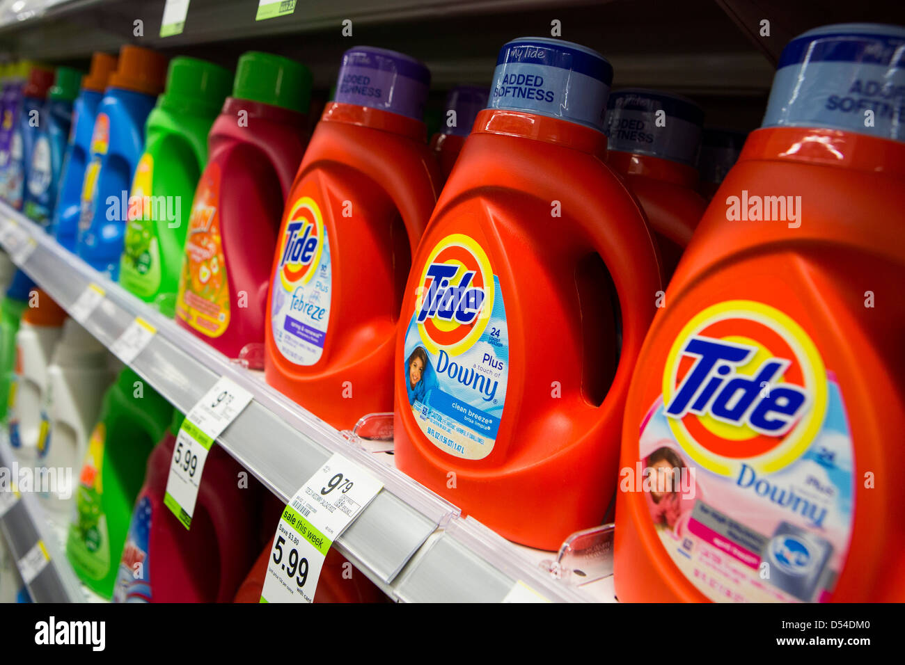 Tide laundry detergent on display at a Walgreens Flagship store.  - Stock Image