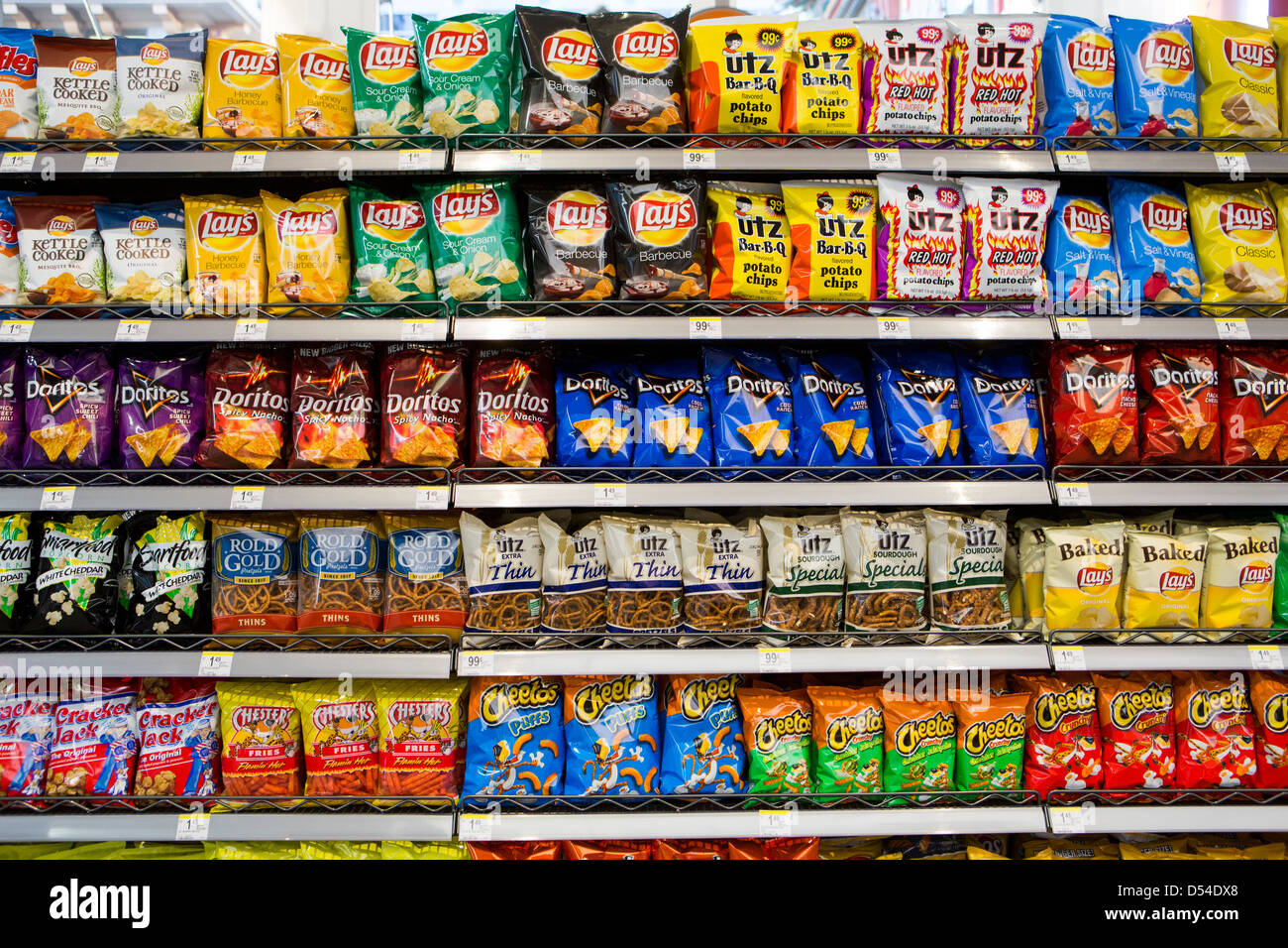 Lay S Utz And Doritos Potato Chips On Display At A