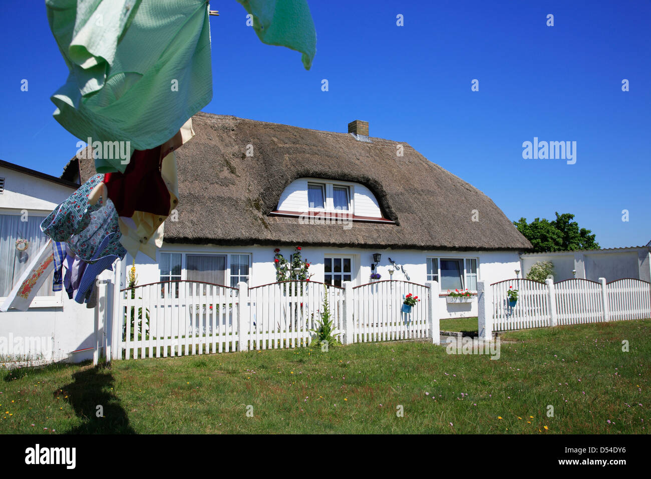Hiddensee Island, fisher house in Neuendorf , Mecklenburg Western Pomerania, Germany - Stock Image