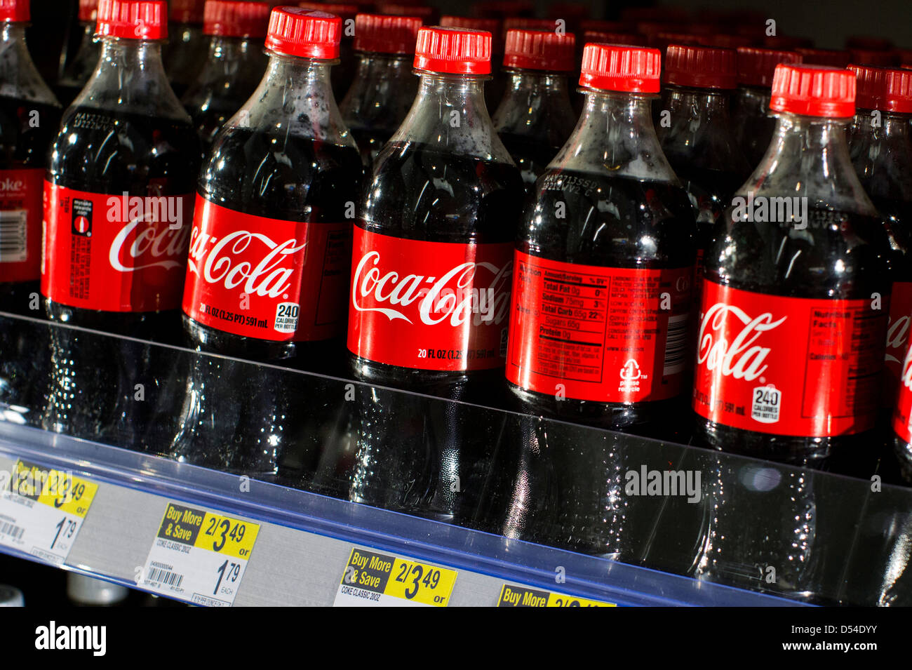 Coca-Cola products on display at a Walgreens Flagship store.  - Stock Image