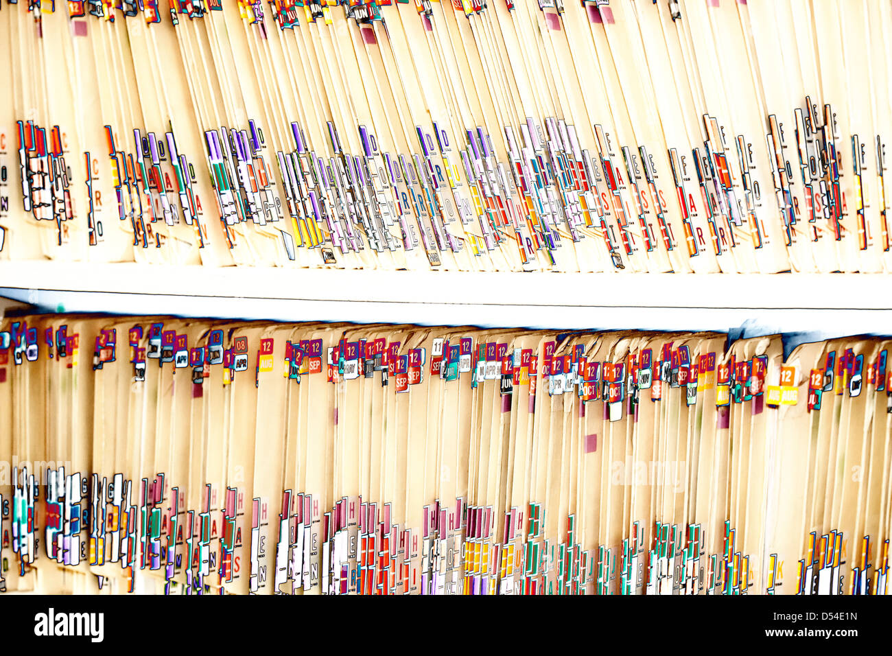 Medical records in a doctor's office - Stock Image