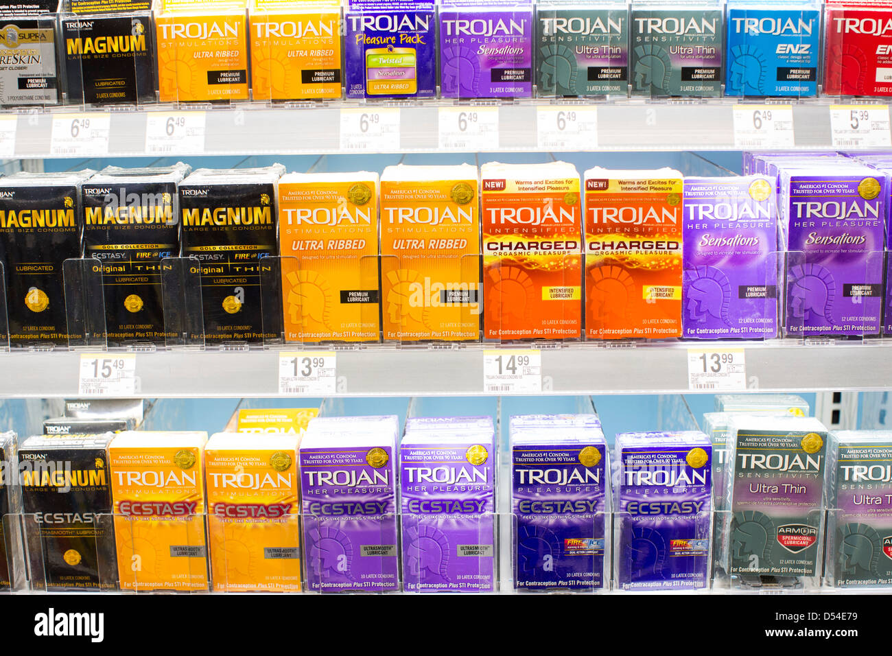 Trojan condom products on display at a Walgreens Flagship store.  - Stock Image