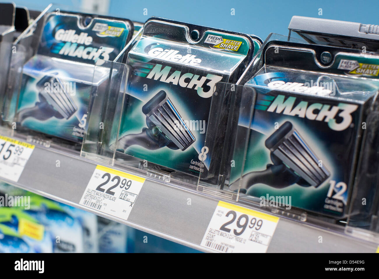 Gillette shaving products on display at a Walgreens Flagship store. - Stock Image