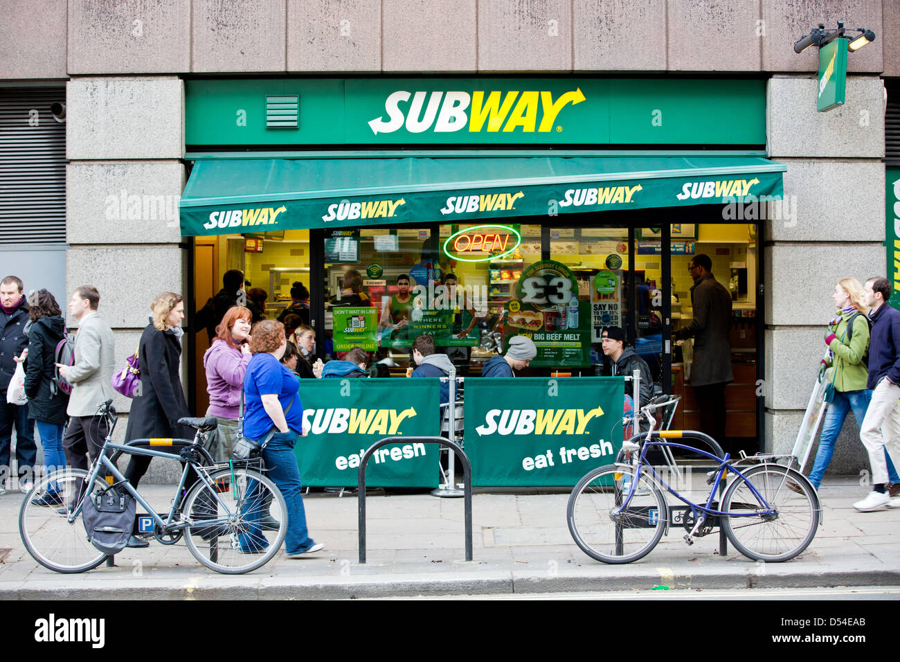 Subway sandwhich shop, London, United Kingdom - Stock Image