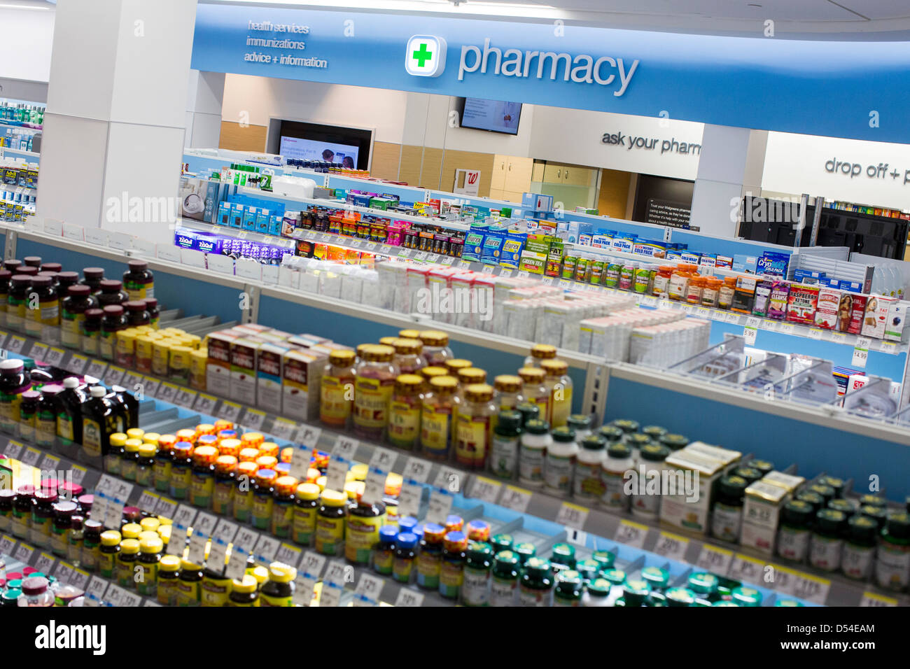 Vitamins and other supplements on display at a Walgreens Flagship store.  - Stock Image