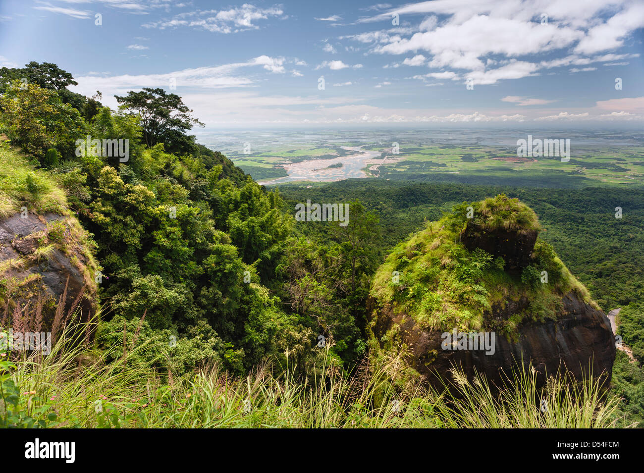 View across to Bangladesh from a high point in the Khasi Hills near the town of Cherrapunjee in Meghalaya, north - Stock Image