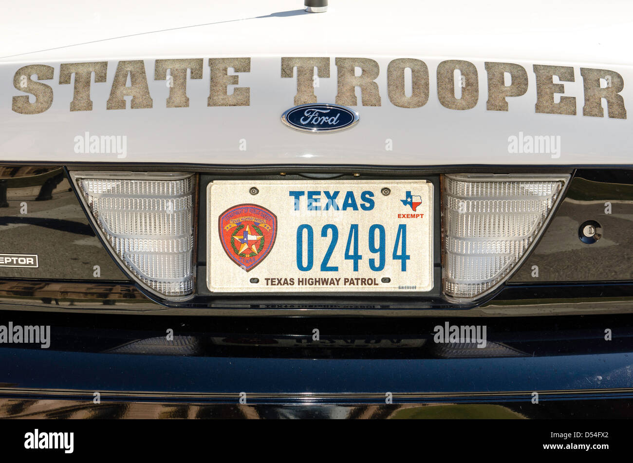 Police car plate State Trooper Capitol building in Austin Texas United States - Stock Image