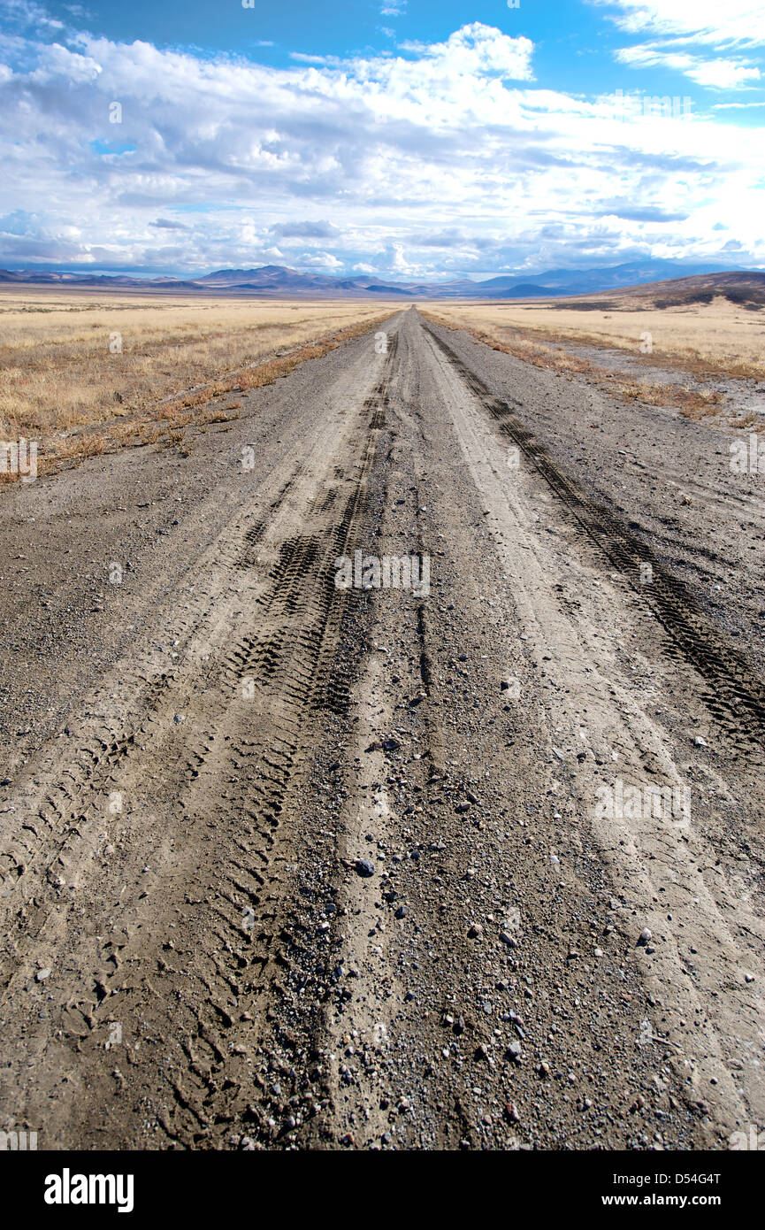 Open road: 4x4 or offroad trail or track stretching ahead on the Applegate Trail, Black Rock Desert, North West - Stock Image