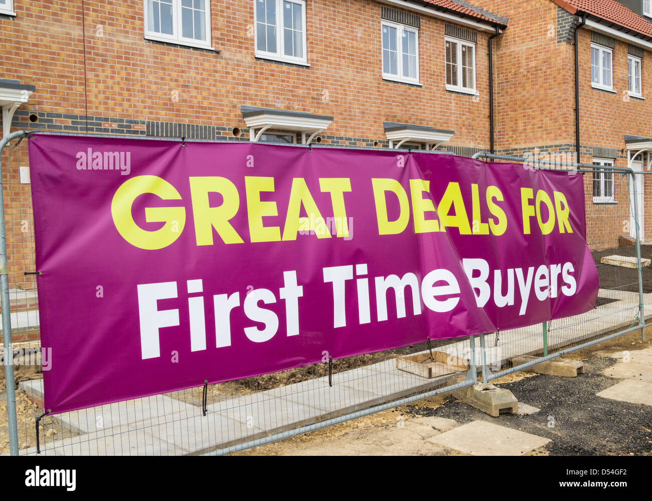 Great deal for first time buyers banner on new housing development in Billingham near Stockton on Tees, north east - Stock Image