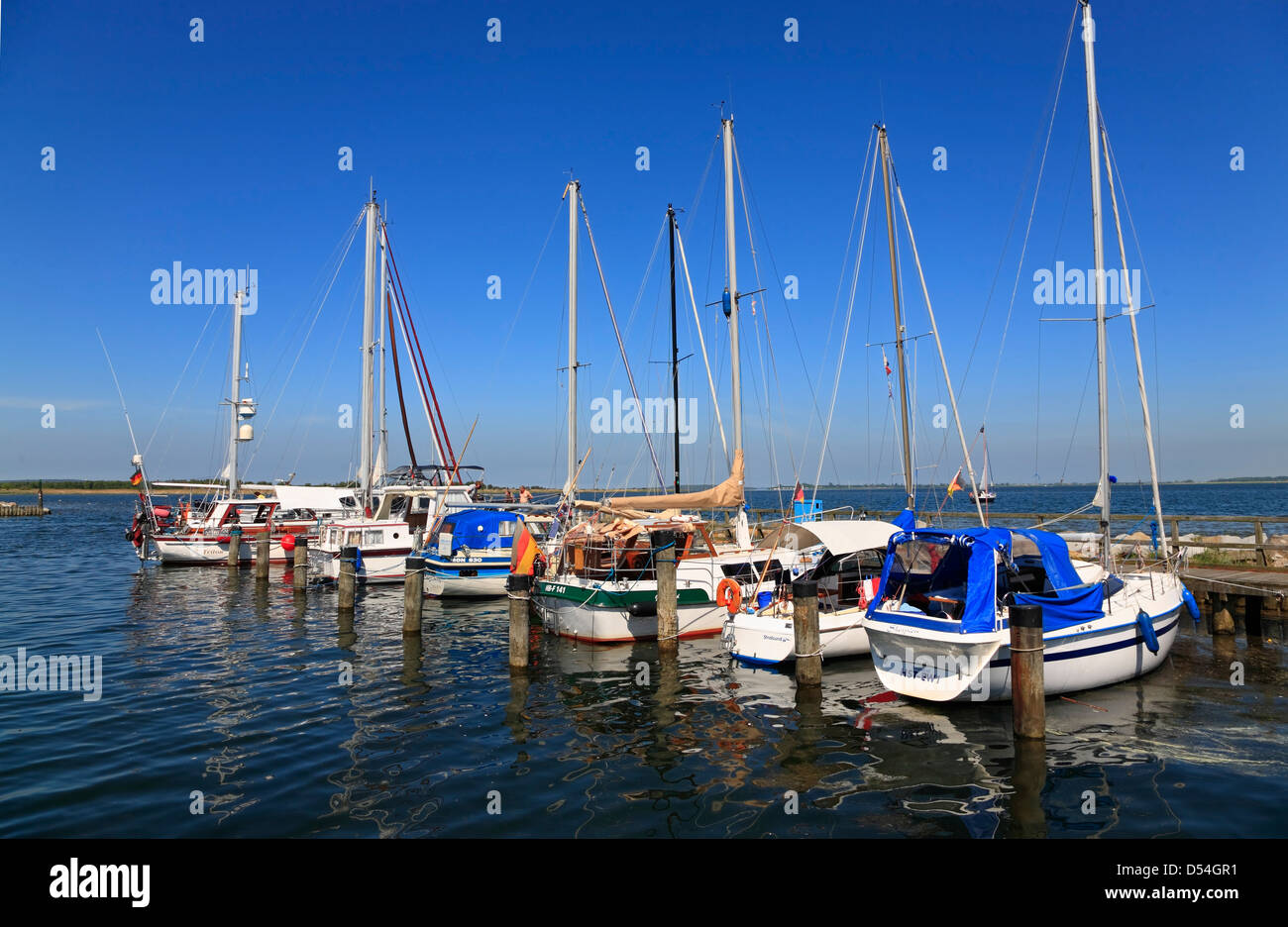 Insel Hiddensee, Neuendorf, sailing boats in the harbor, Mecklenburg Western Pomerania, Germany - Stock Image