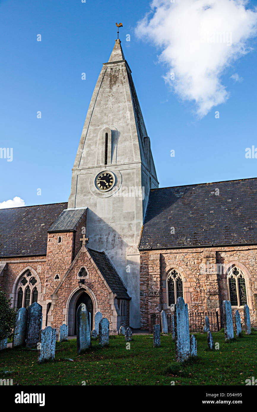Trinity church with stone steeple, Jersey, Channel Islands, UK - Stock Image
