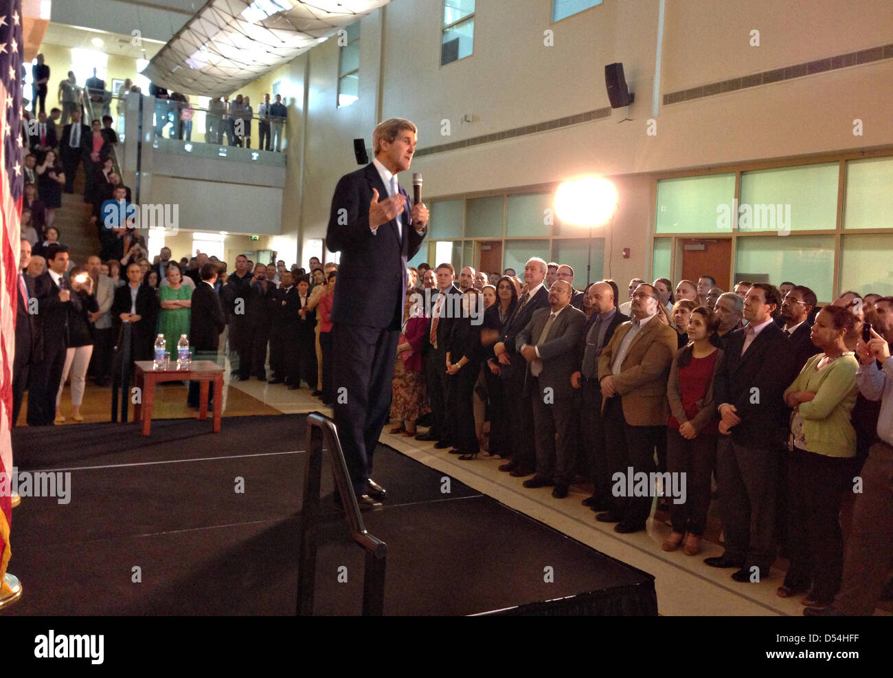 US Secretary of State John Kerry speaks to the staff at the
