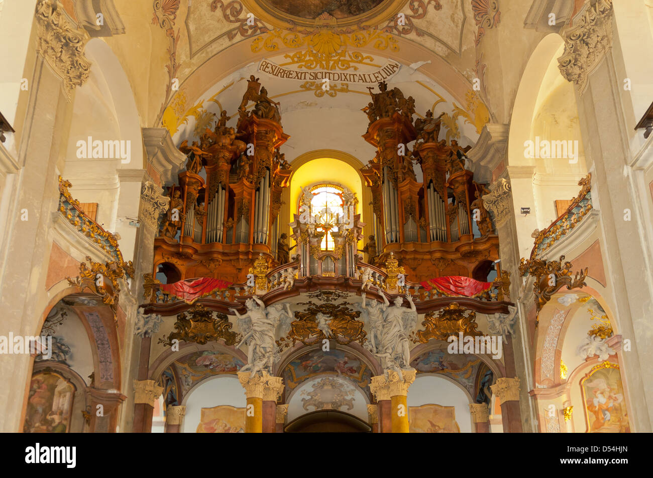 Organ of Church of Our Lady of the Snows, Olomouc, Czech Republic - Stock Image