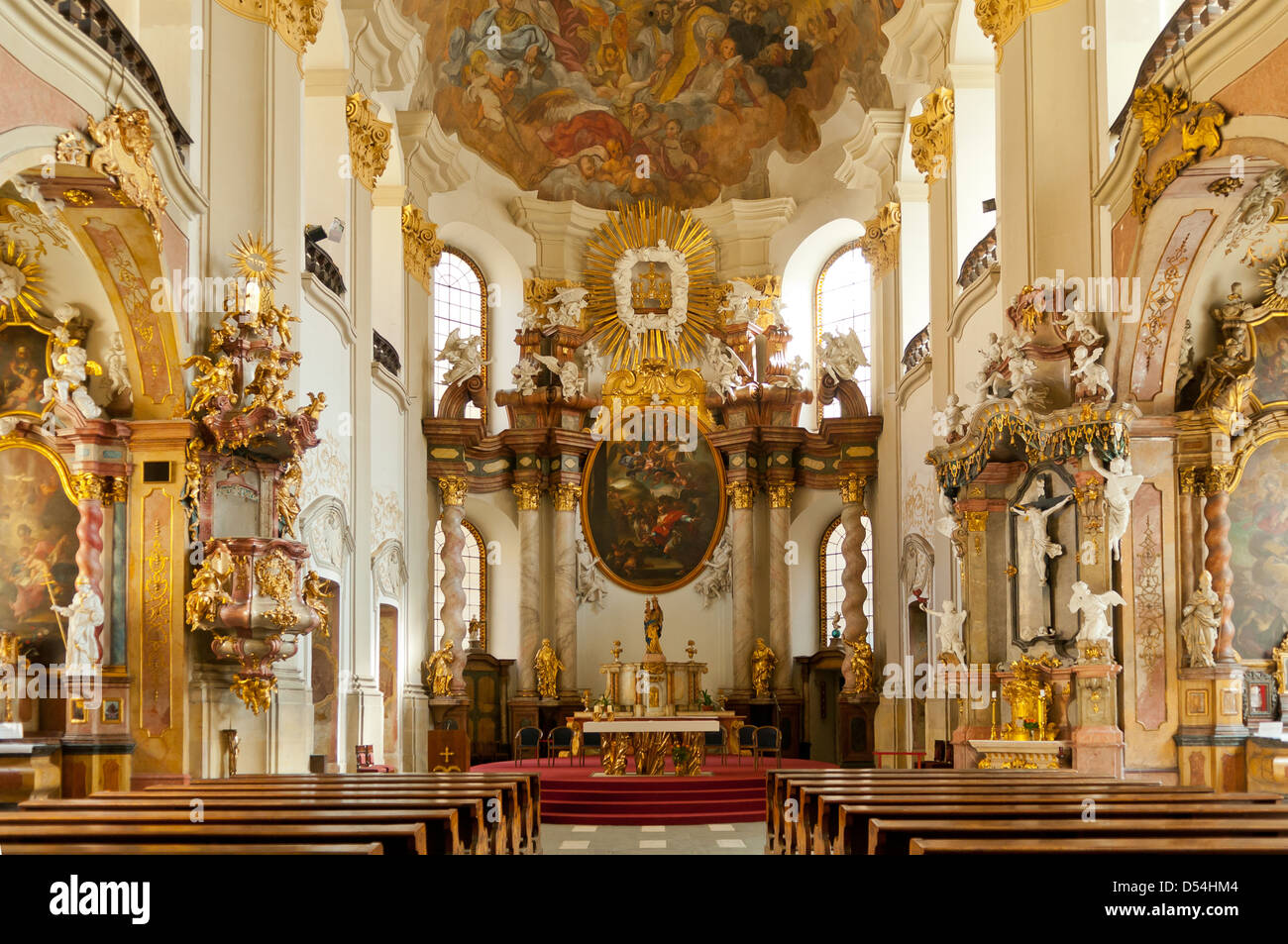 Inside Church of Our Lady of the Snows, Olomouc, Czech Republic - Stock Image