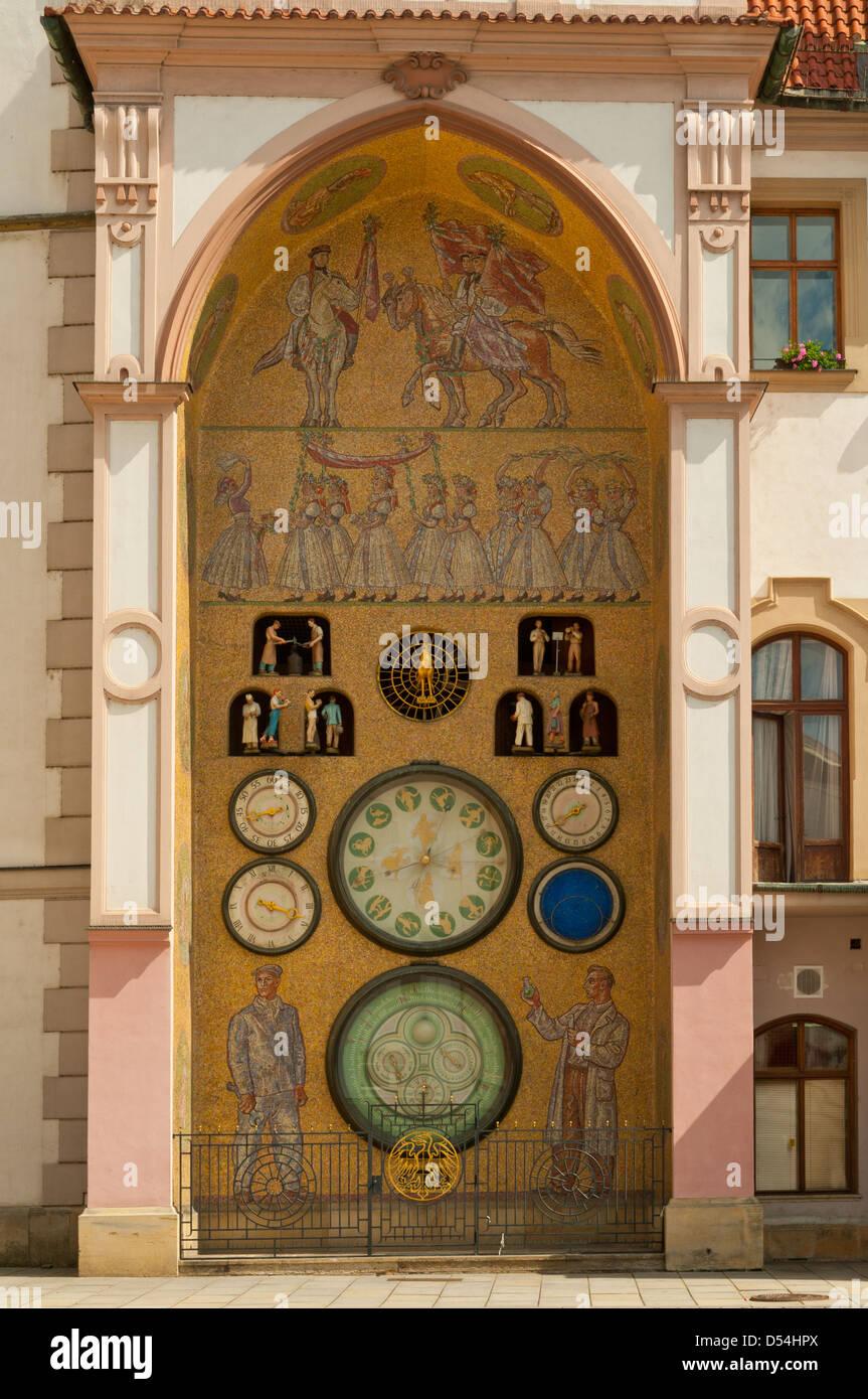 Astronomical Clock, Market Square, Olomouc, Czech Republic - Stock Image