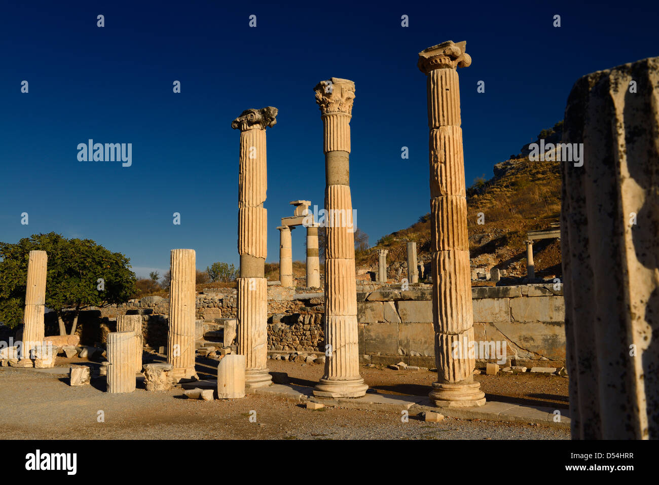 Temples of the Goddess Rome and Divine Caesar with Prytaneion at ruins of ancient Ephesus Turkey - Stock Image