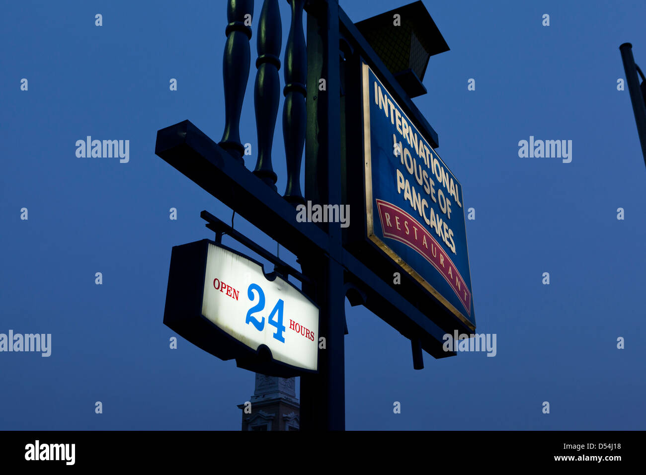 IHOP Open 24 hours sign - Stock Image