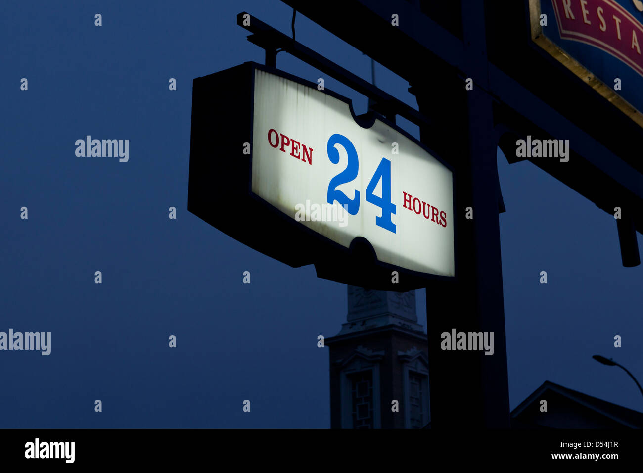 Open 24 hours sign - Stock Image