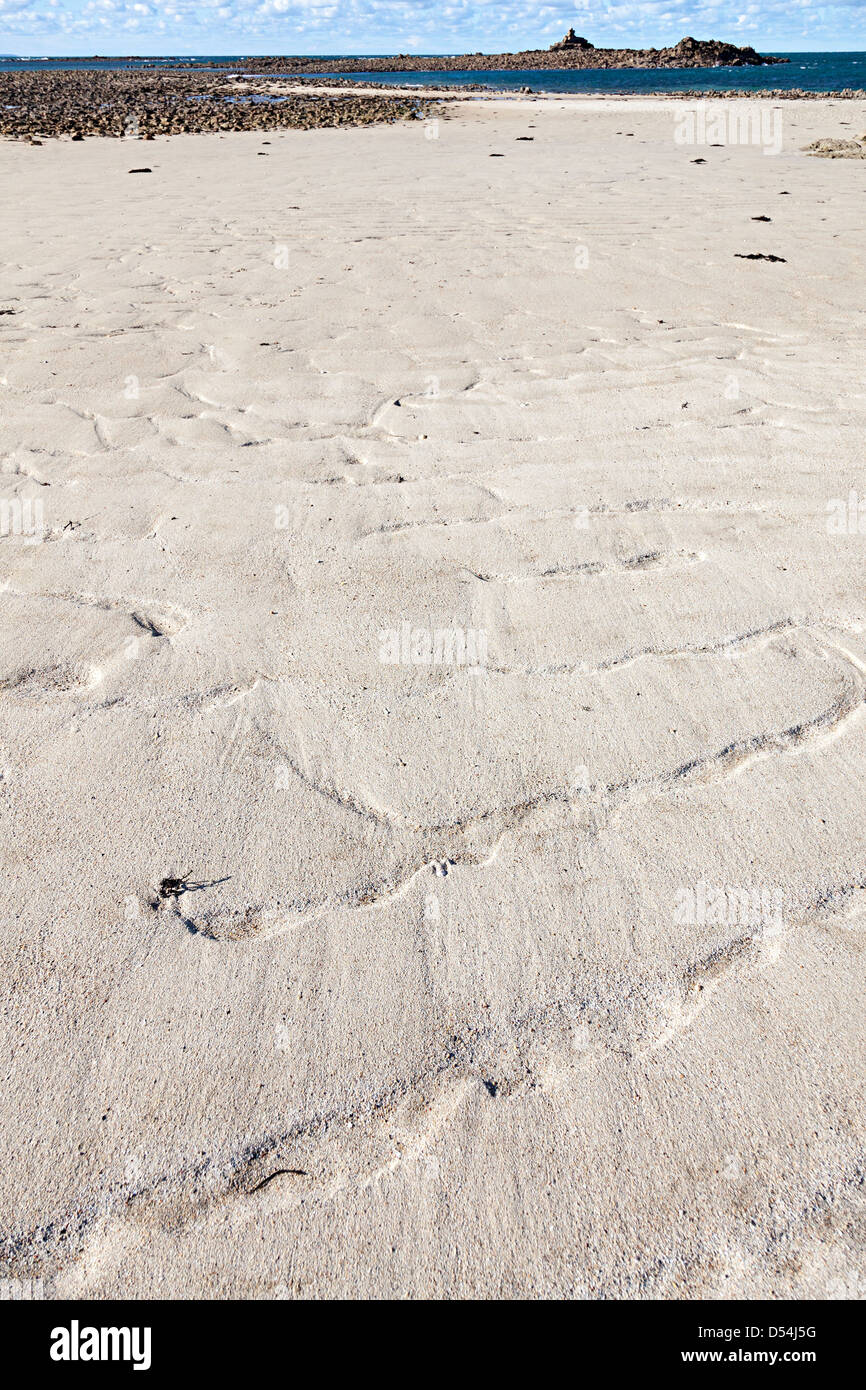 Ripples in sand on beach, Ecrehous island off Jersey, Channel Islands, UK - Stock Image