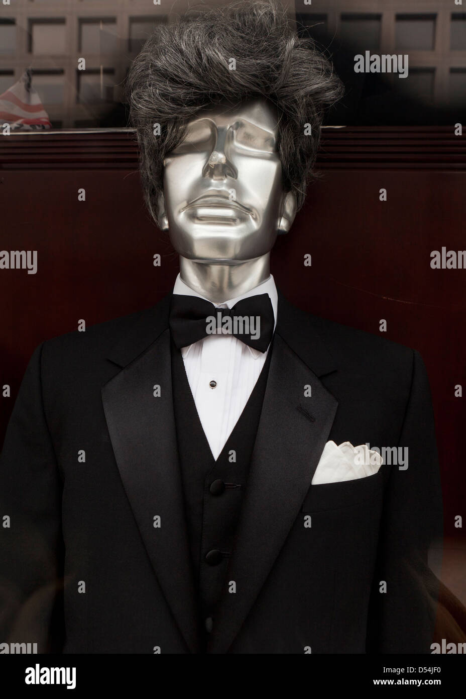 Mannequin dressed in a tuxedo - Stock Image