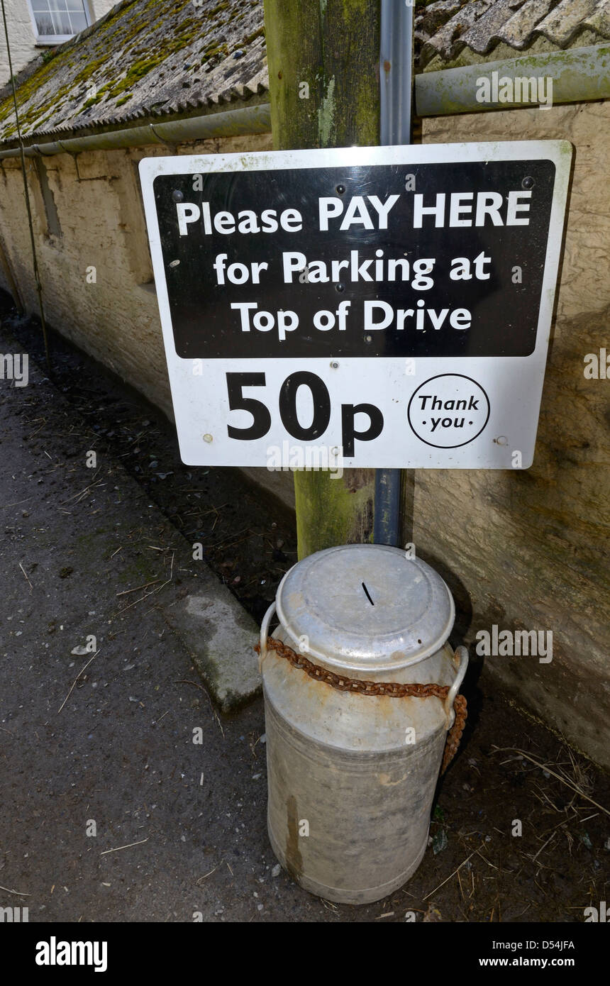 A private car park payment point at a farm in cornwall, uk Stock Photo