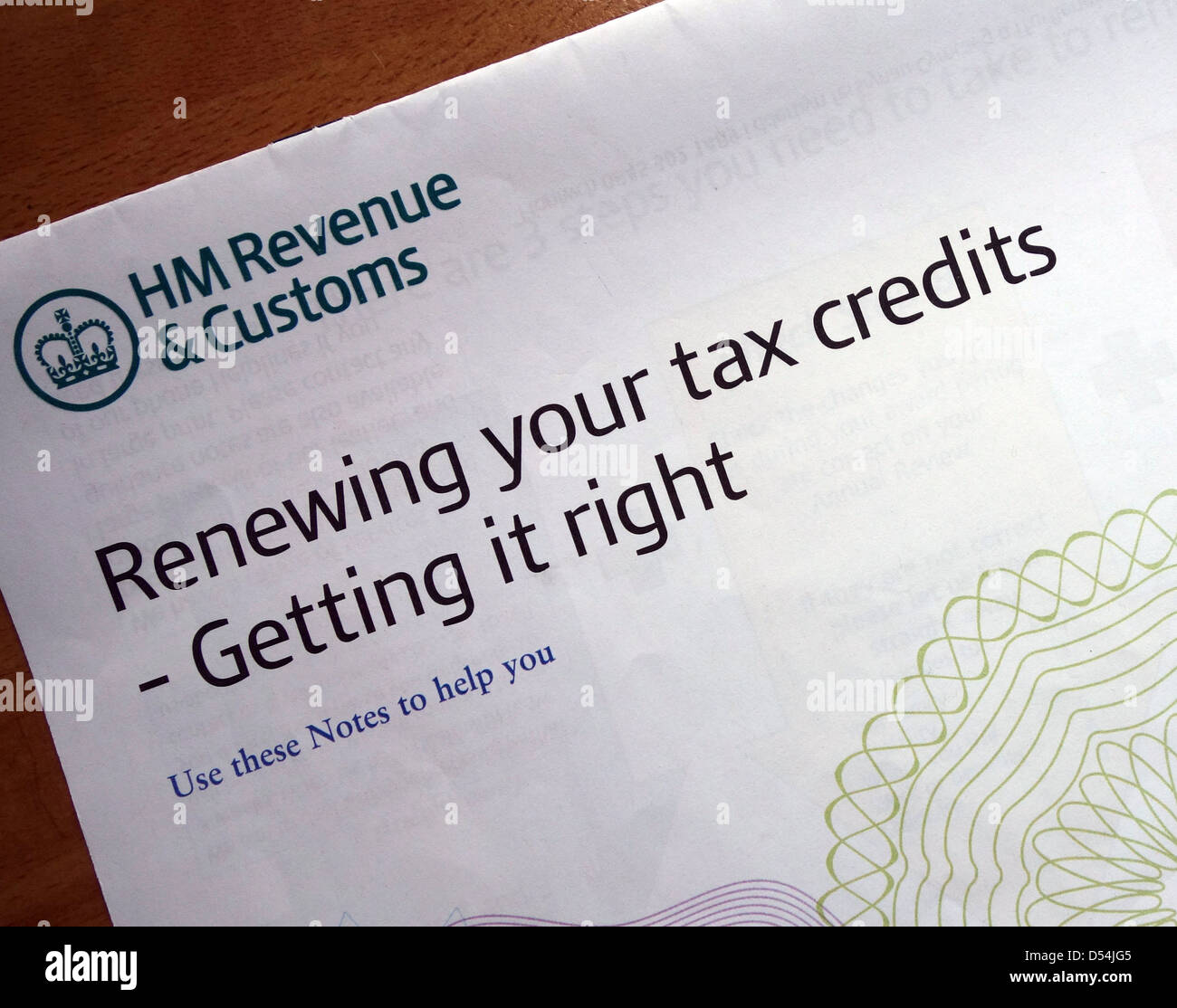 Tax Credits renewal form - Stock Image