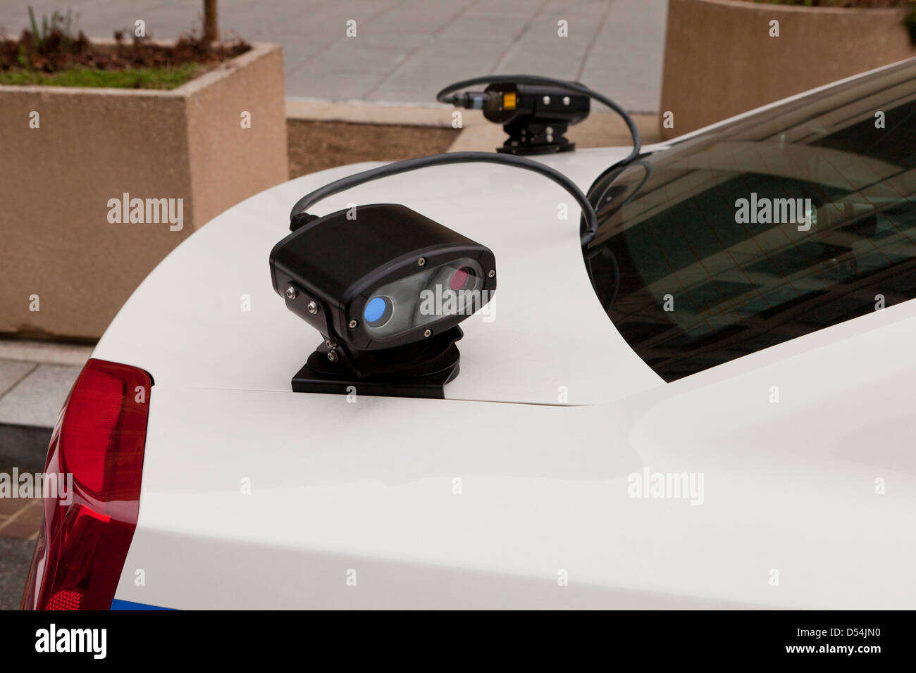 Automatic license plate recognition camera on back of police car - Washington, DC USA - Stock Image