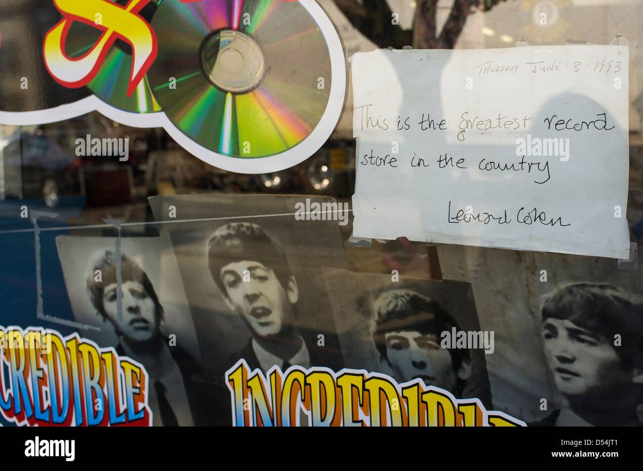 Record store window, Sebastopol, California, United States - Stock Image