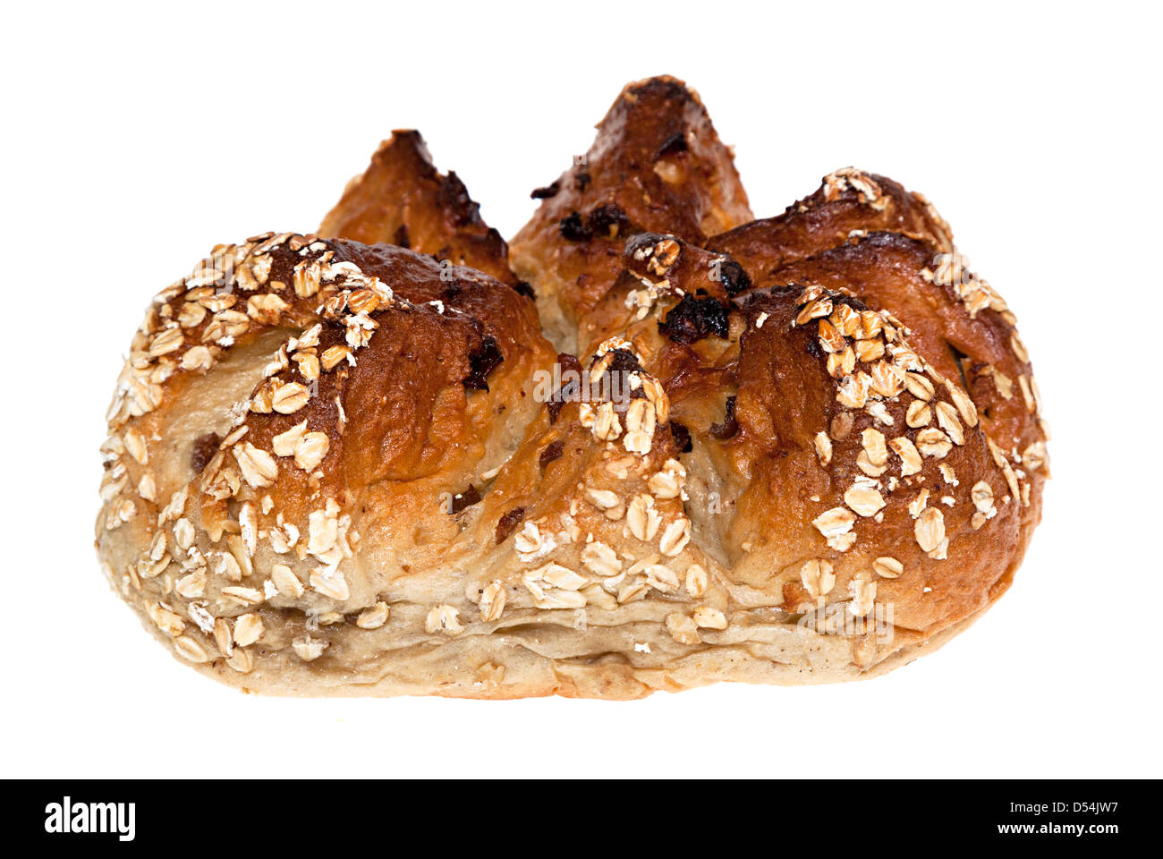 Artisan bread made with banana and oat grain on white background - Stock Image